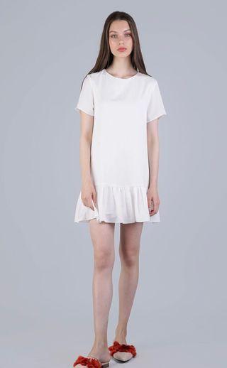 The Tinsel Rack Kara Drop Hem Dress in White Size XL
