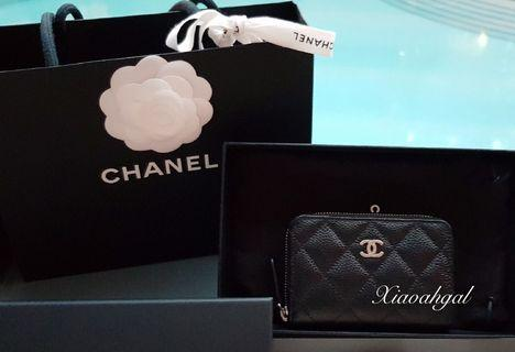 🌟BIDDING🌟Chanel black cavair quilted gold hardware 3 compartments zippy cardholder wallet pouch