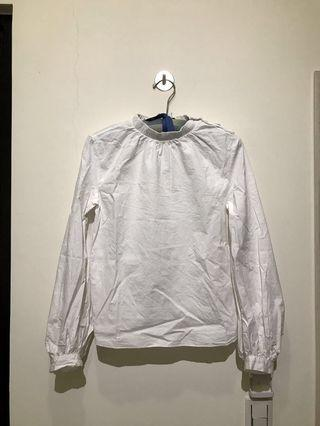 🚚 賣到6/2_純白色立領澎袖襯衫 尺寸S