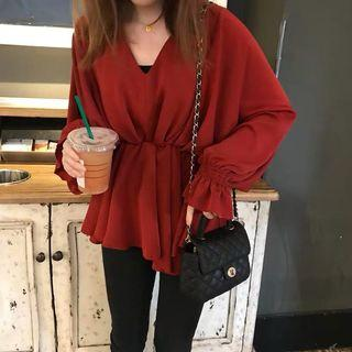 Red/white v neck top hoodie