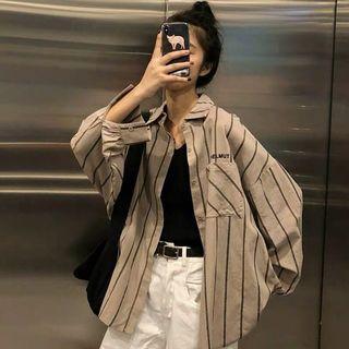 Brown/black stripped shirt jacket