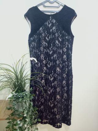 Lace Velvet Black Dress / brukat bludru dress