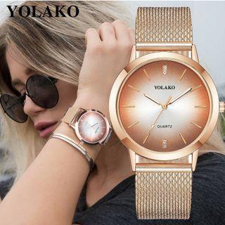 時尚高質感女士石英鑽石腕錶 (多種顏色搭配) 韓系 日系 淑女 (店到店免運費)