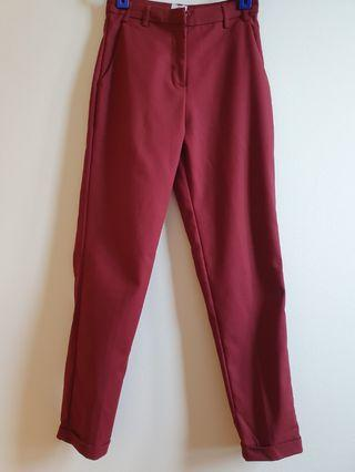 (Size S) AFA Stans Cuff Pants in Wine Red