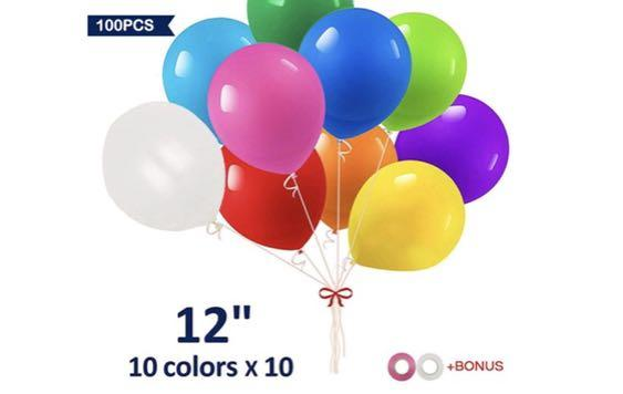 100Pcs Unused Party Balloons with Ribbons