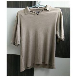 Agnes B Hommes Khaki Brown Polo Tee Shirt Collared Shirt