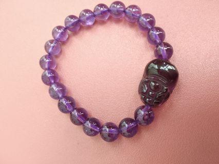 8mm紫晶連貔貅手串