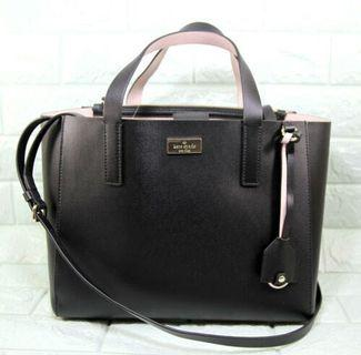 Kate Spade Putnam Drive Small Nelle Soft Leather Satchel Bag-BLACK/DOLCE