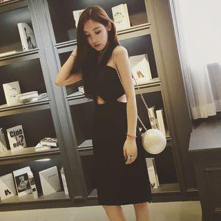 Korean party black dress M