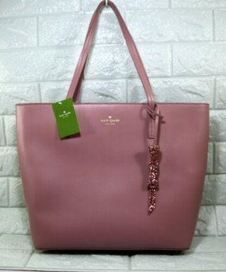 Kate Spade Seton Drive Karla Smooth Leather Tote Shoulder Bag-DUSTY PEONY
