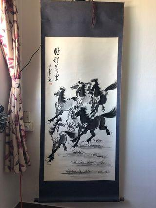 Chinese Calligraphy Scroll Painting - 8 horses