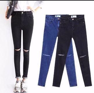 [BN] Stylenanda-inspired Knee Slit Ripped High Waist Denim Jeans