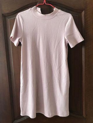 Lalu ribbed pink dress with pockets
