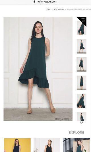 🚚 Hollyhoque- charmer ruffles dip dress emerald