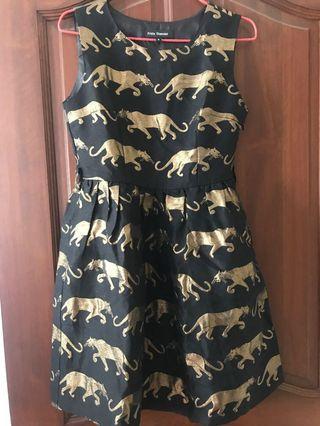 Gold thread jaguar party dress