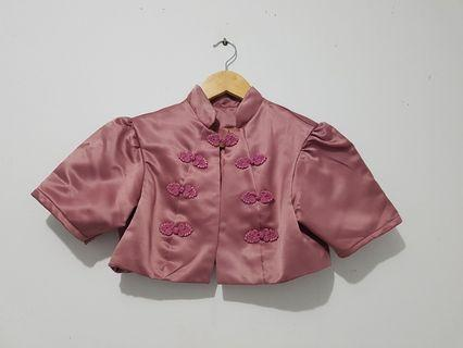 Rompi pendek model cheongsam wanita dusty pink ALL SIZE
