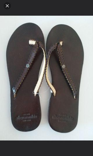 Abercrombie New York women's leather slippers / flip flops / sandals (人字皮拖鞋) (100% new)