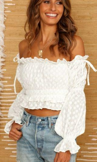 White bob off the shoulder Cropped top