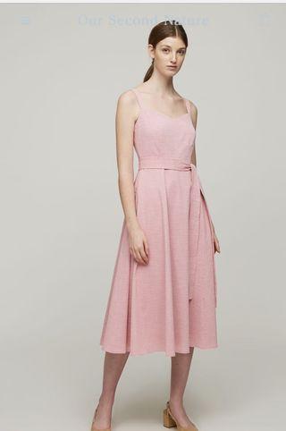 Seersucker Striped Midi Dress in Pink