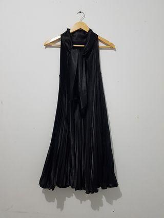 Dress pleated wanita hitam tanpa lengan high quality Icons ALL SIZE