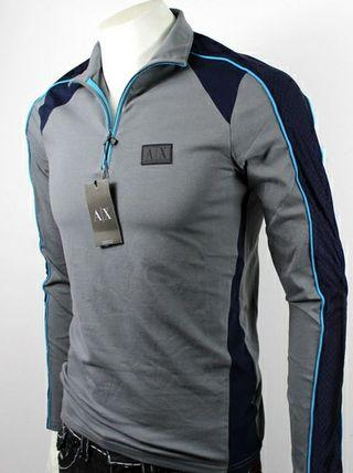 AX Armani Exchange Honeycomb Muscle Fit Zip Up High Neck Pullover