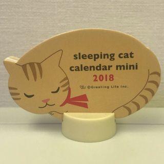 📮sleeping cat calendar mini 2018 (雙面, 年份已過, 純為收藏)