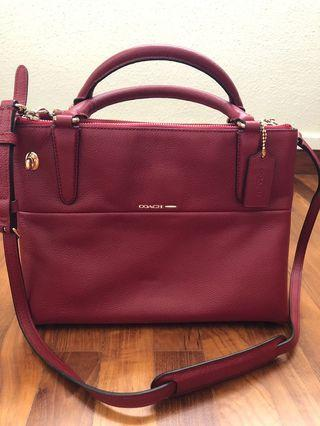 Coach small turnlock borough bag in pebbles leather 33732 in red current
