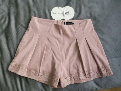 Brand new dusty pink pleated shorts