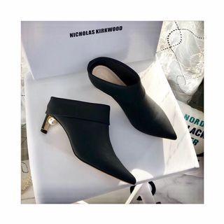 Black kitten heel mules ankle boots