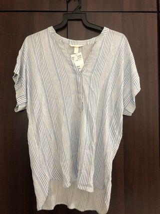 H&M light blue and shite striped blouse