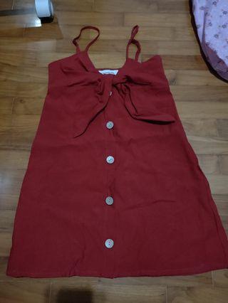 red button down mini dress tem