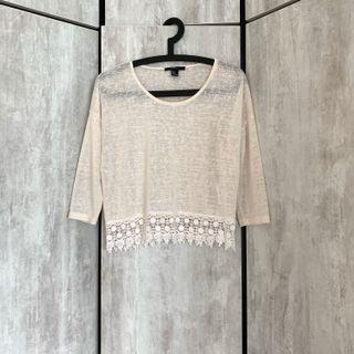 Forever 21 Forever21 F21 White Cream Lace Crochet Long sleeve Knit Throwover Top Blouse