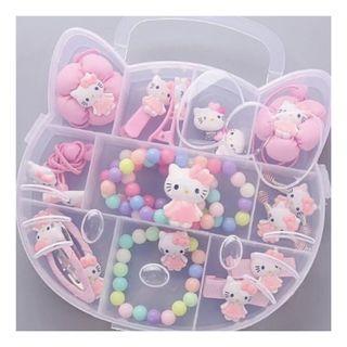🚚 16pcs Kids Girls Hair Accessory Box Set Hello Kitty Gift Box