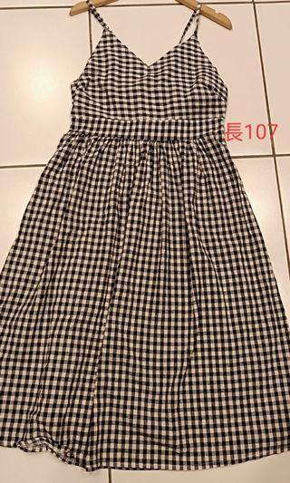 露腰格子連身裙洋裝