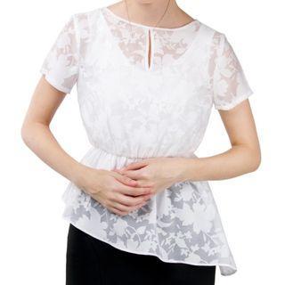 Skeleton Blossom Top純白印花薄紗Top上衣