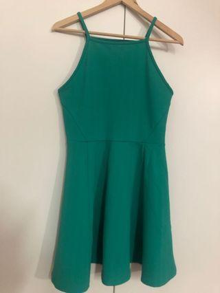 Bold green halter dress
