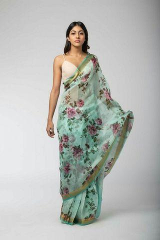 Floral blue saree