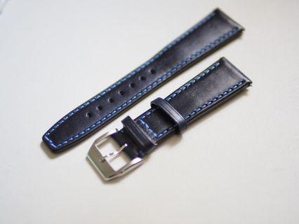 22mm dark blue leather watch strap