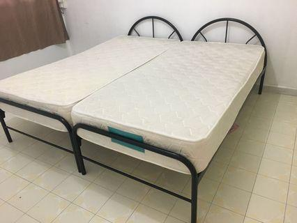 2 x metal Bed Frame with Mattress