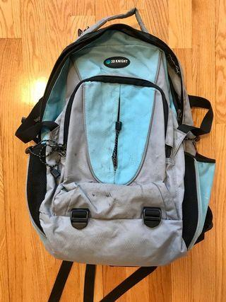 3D Knight 淺藍色黑色灰色多格實用護脊書包背囊 Light blue black grey backpack