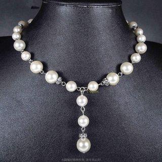 珍珠林~最高級天然硨磲貝活扣式Y字珍珠項鍊.設計師作品~#161