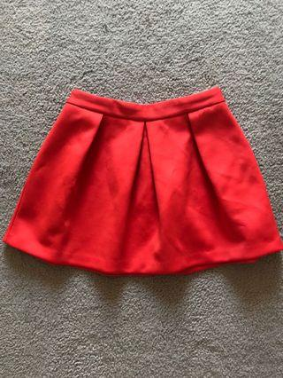 High waisted red skirt
