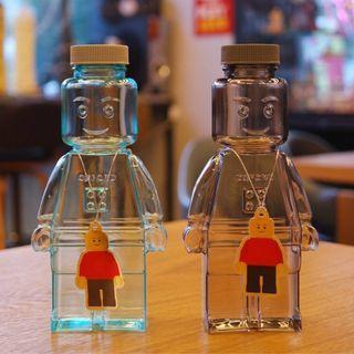 (現貨)韓國限量版 Block Jelly x Oxford  LEGO(樂高)卡通人形立體透明水樽Bottle 350ml (藍色/灰色) 放冷熱水/糖果