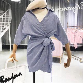 🚚 條紋綁帶連衣裙