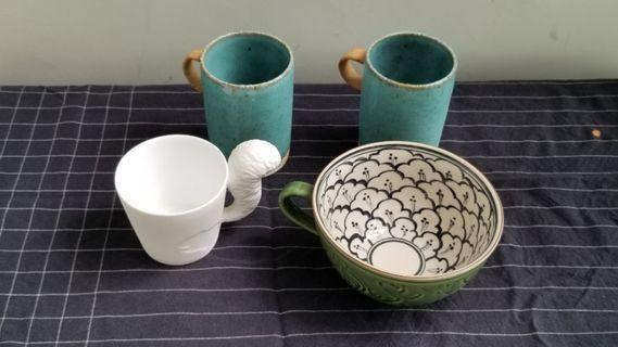 Set of 4 unique mugs