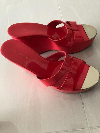 🚚 Charles & Keith Wedges in Coral