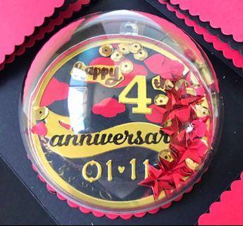Happy 4 anniversary Explosion Box Card with Shaker globe