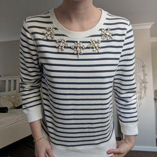Blue and white striped top with jewelled collar