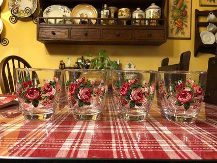 🚚 日本購入玫瑰花杯 四個甜甜價