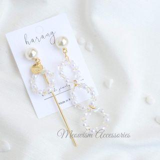 韓國珍珠水晶圈鴛鴦耳環